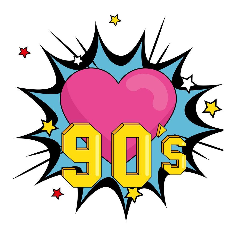 cartel de los noventa con corazón en explosión de arte pop vector