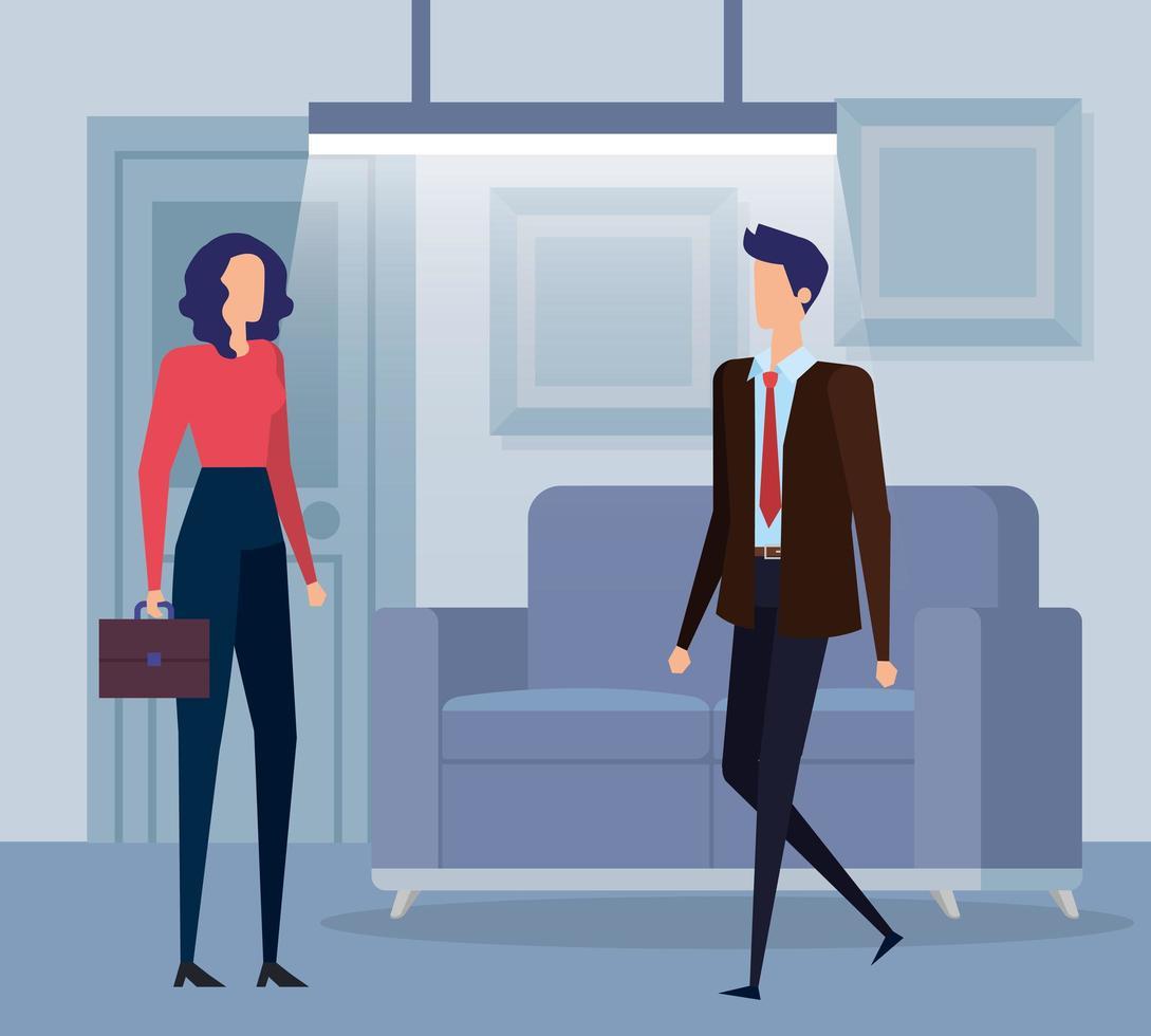 elegante pareja de trabajadores de negocios en la sala de estar vector