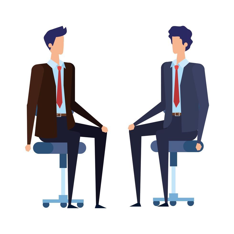 elegantes empresarios trabajadores sentados en sillas de oficina vector