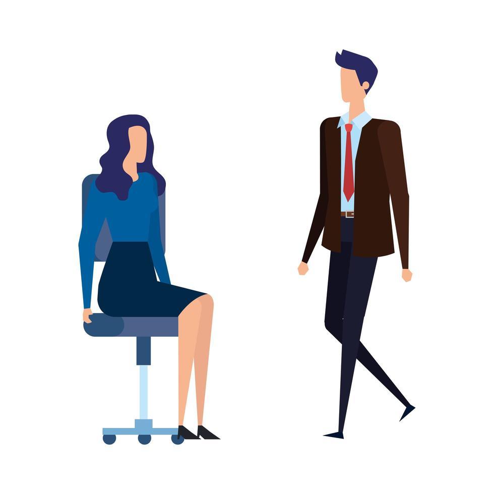 elegante pareja de trabajadores de negocios en sillas de oficina vector