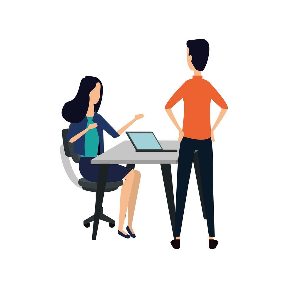 pareja de negocios elegante trabajando con laptop vector