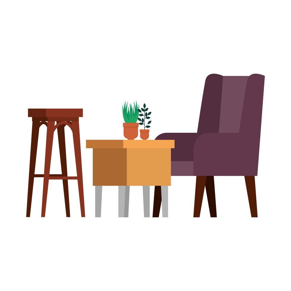 Cómodo sofá y mesa de madera para sala de estar. vector