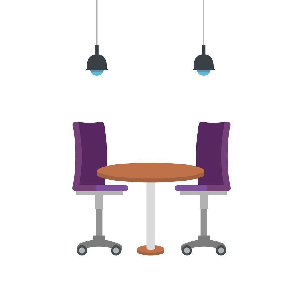 silla de oficina con mesa de madera vector
