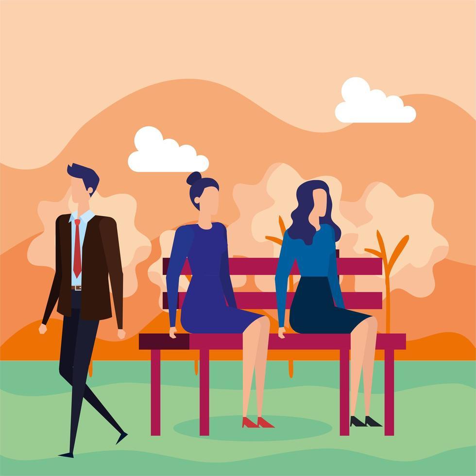 gente de negocios sentada en la silla del parque vector