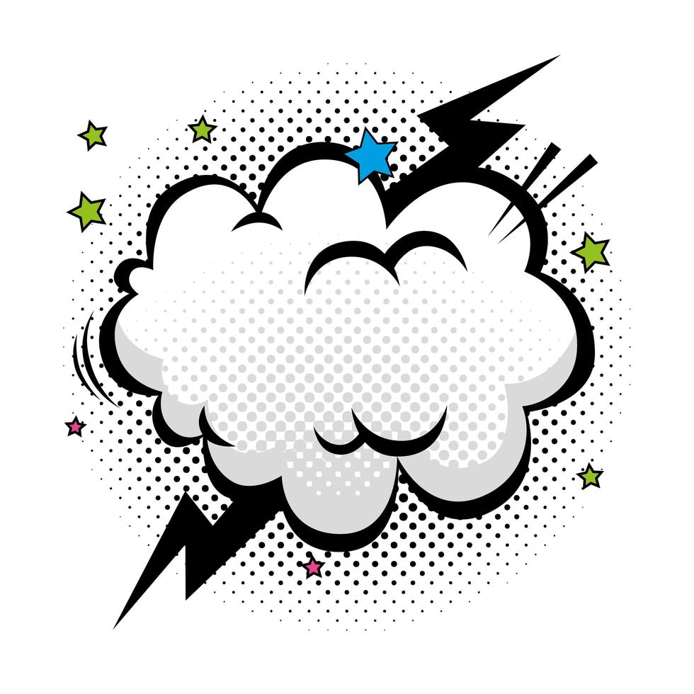 cloud with thunderbolt and stars pop art style icon 21 Vector ...
