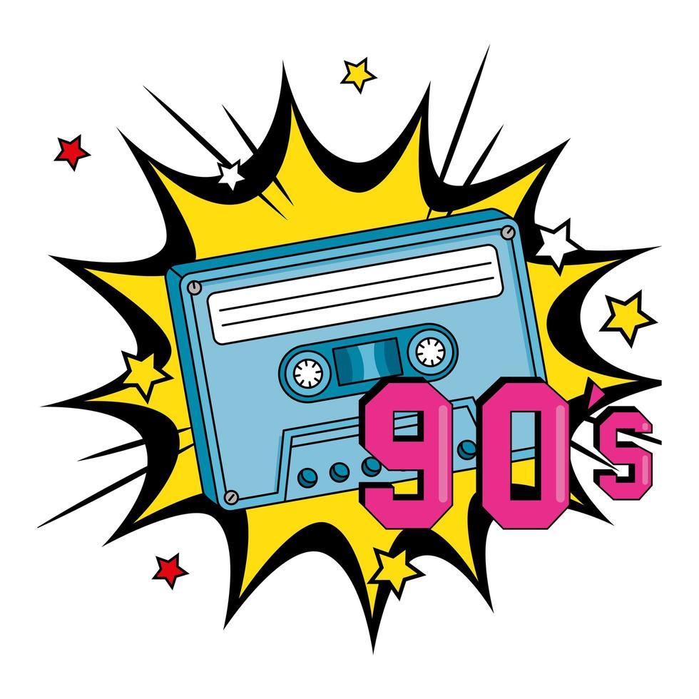 casete de los noventa en explosión pop art vector
