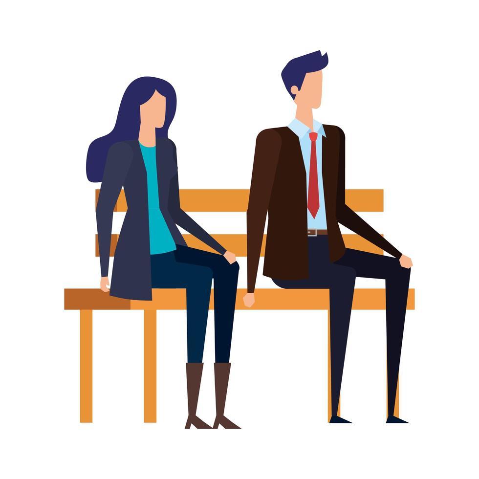 elegante pareja de negocios sentada en la silla del parque vector
