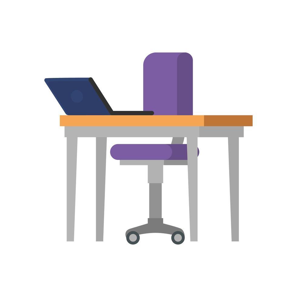 silla de oficina con escritorio y laptop vector