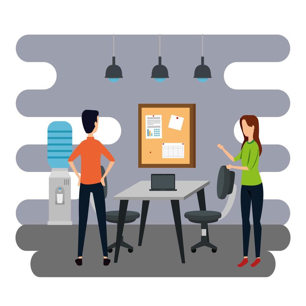 elegante pareja de trabajadores en la oficina vector