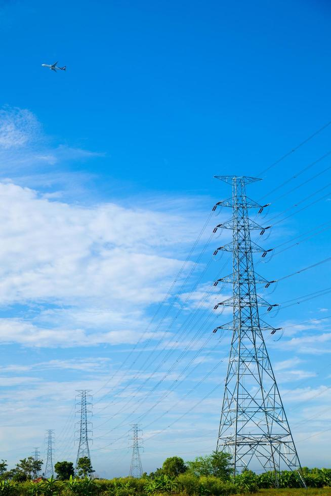 High voltage towers in Thailand photo