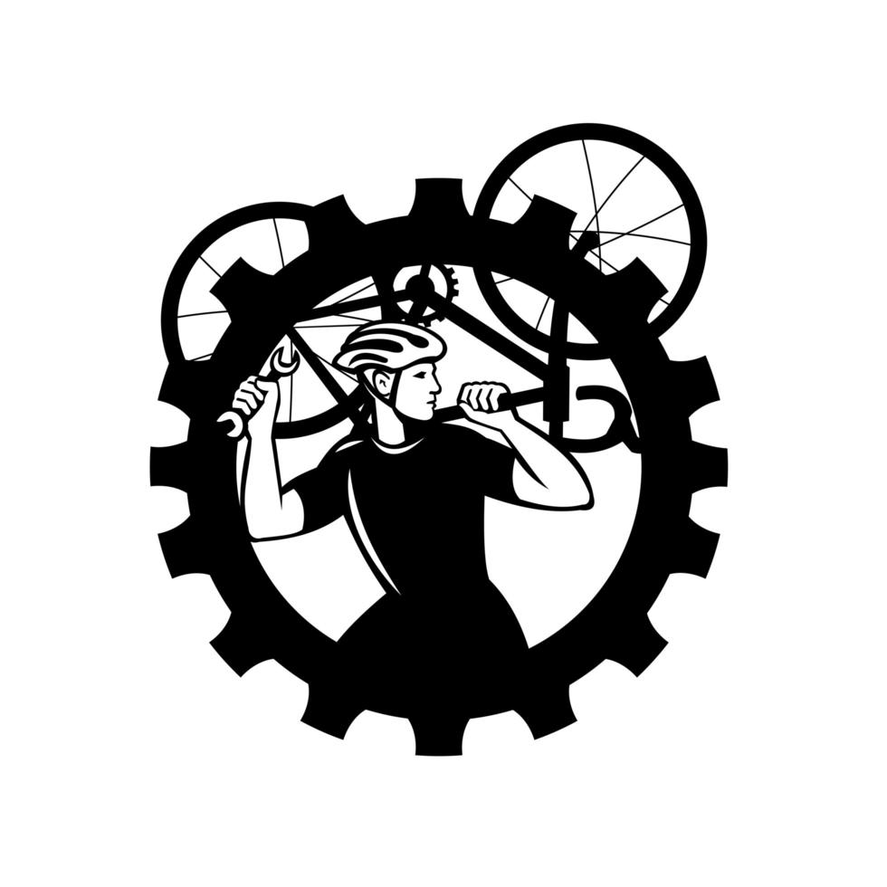 Cyclist Bicycle Mechanic Carrying Bike Sprocket Black and White vector