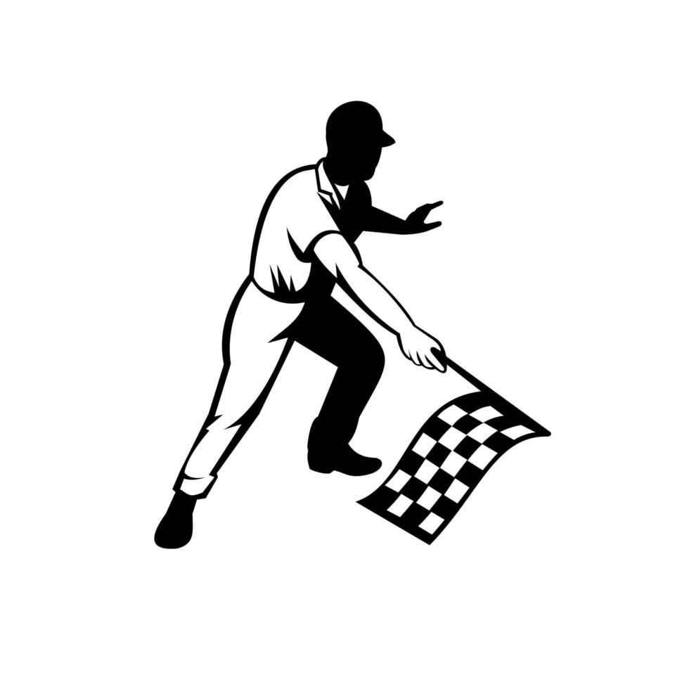 Flagman Race Official Waving Checkered or Chequered Flag Finish Line Retro Retro Black and White vector
