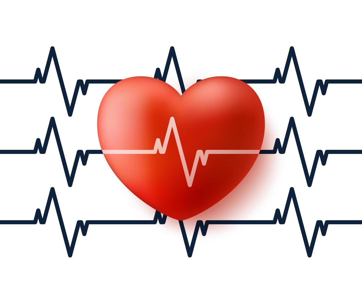 Heart and pulse. 3d vector heart with cardiogram reflection icon vector illustration. Valentine day banner or card