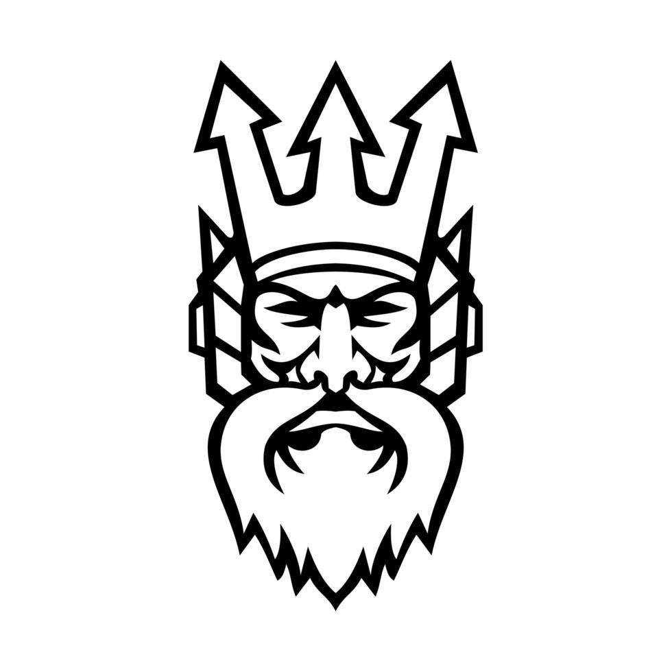 Cabeza de poseidón dios griego vista frontal mascota en blanco y negro vector