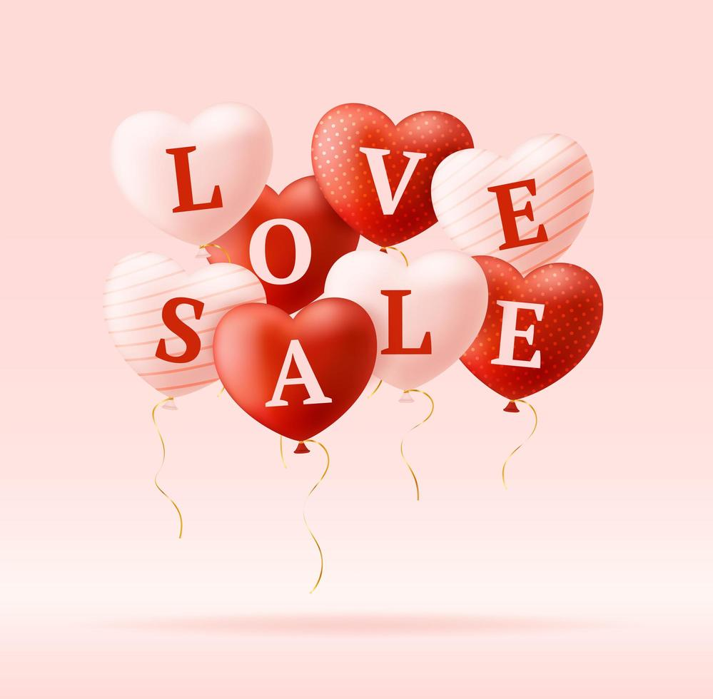 Love word and sale on realistic hearts. Valentine's day card with pink and red hearts and lettering love. Vector illustration sale or discount concept