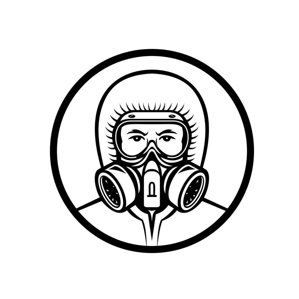 Medical Professional Wearing RPE Mascot vector