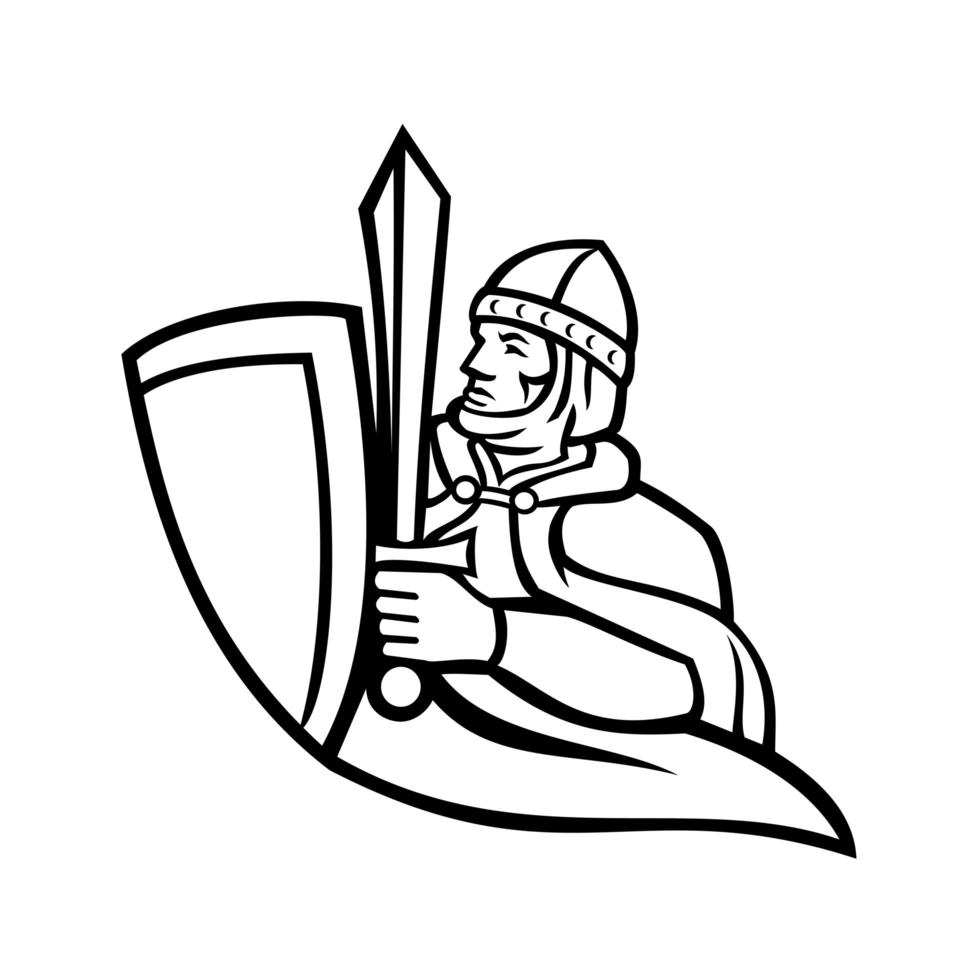 Bust of Medieval King Regnant Wielding a Sword and Shield Black and White Mascot vector