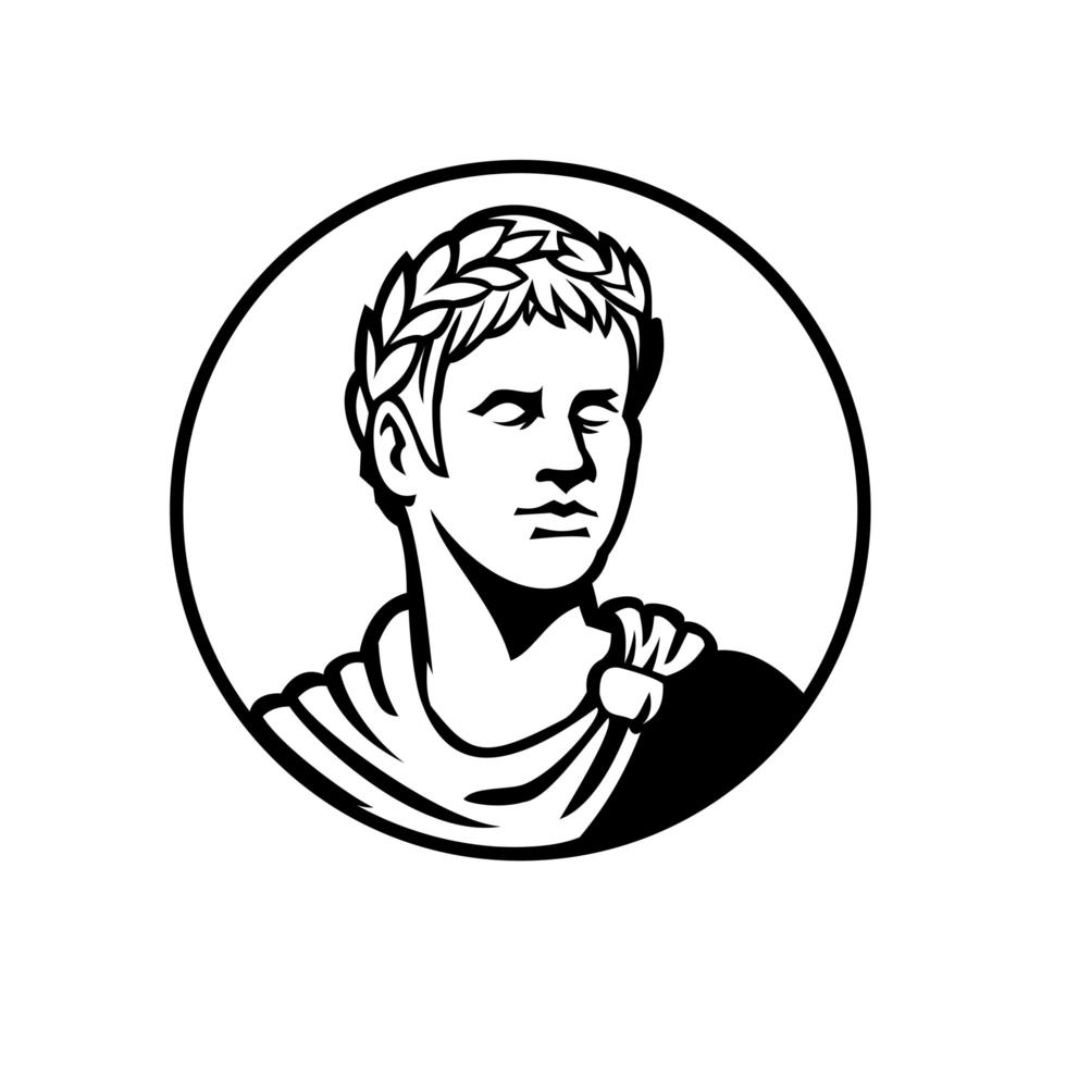 Ancient Roman Emperor Looking Side Circle Mascot Black and White vector