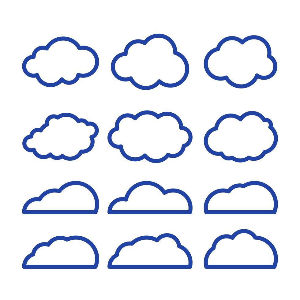 icono de vector de arte de línea de nubes. elemento de solución de almacenamiento, bases de datos, redes, imagen de software, concepto de nube y meteorología. Ilustración de arte de línea vectorial aislada sobre fondo blanco