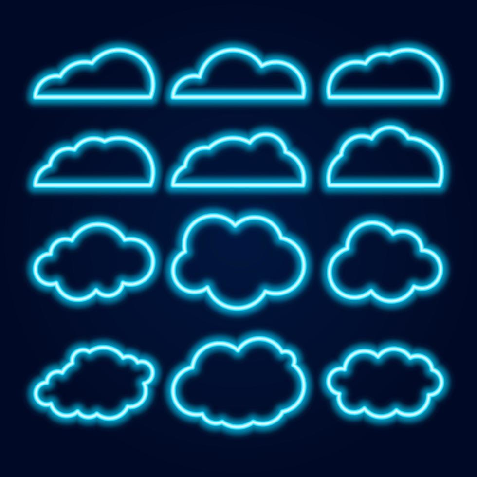 Vector Neon Cloud Icons Set, Glowing Bright Blue Lines on Dark Background