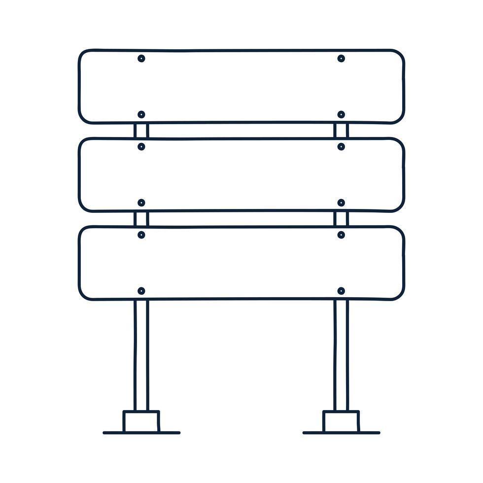 Icono de vector de señal de tráfico de tres rectángulos en estilo de dibujo de contorno. tablero en blanco con lugar para el texto aislado en la ilustración de vector de señal de información blanca.