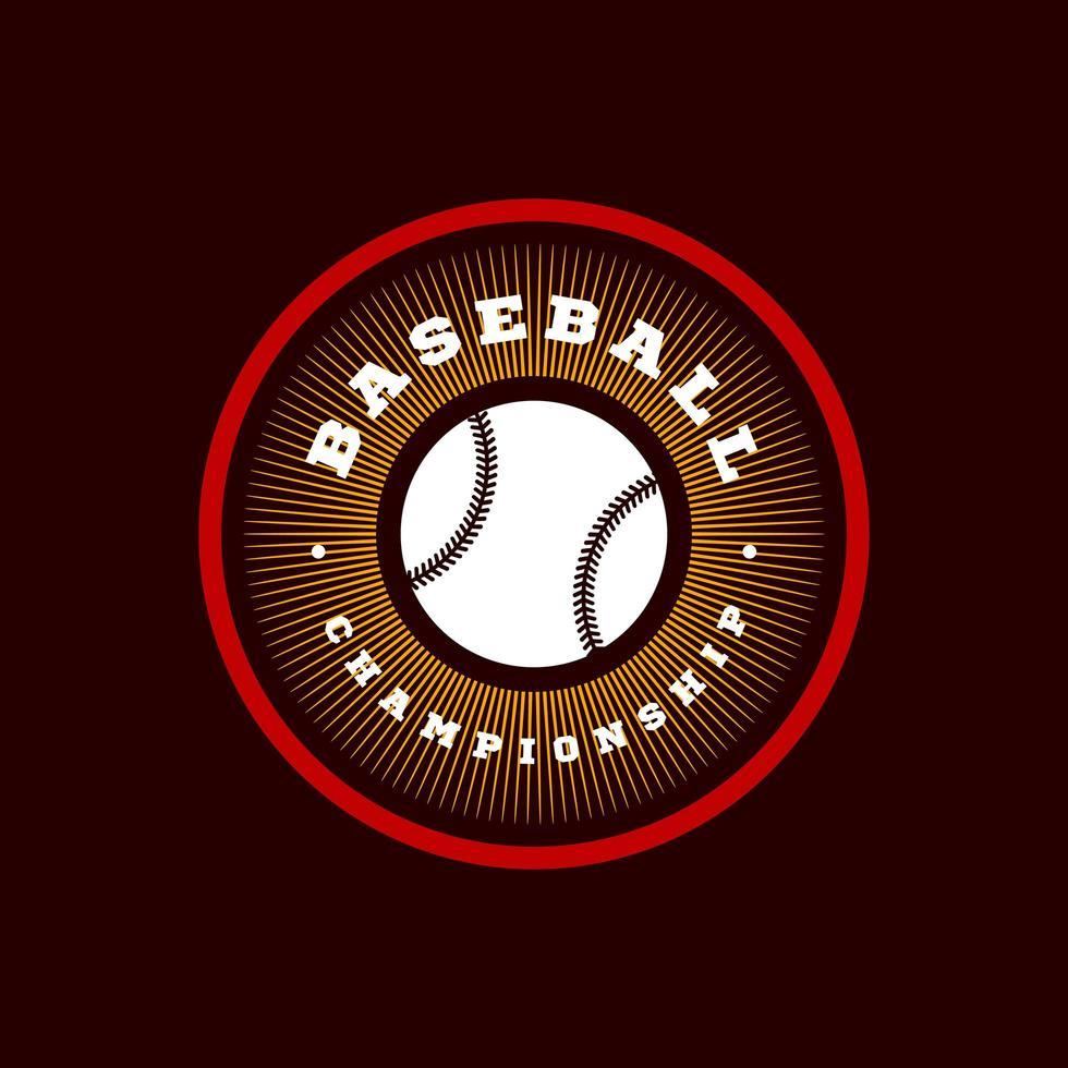 tipografía de deporte profesional moderno de béisbol en estilo retro. emblema de diseño vectorial, insignia y diseño de logotipo de plantilla deportiva vector