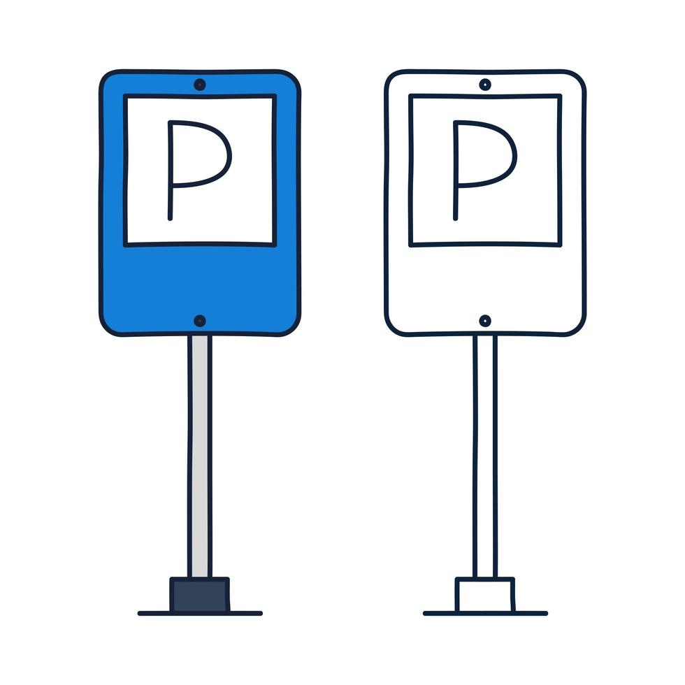 señal de tráfico de estacionamiento. icono de vector en estilo de dibujos animados doodle con contorno.
