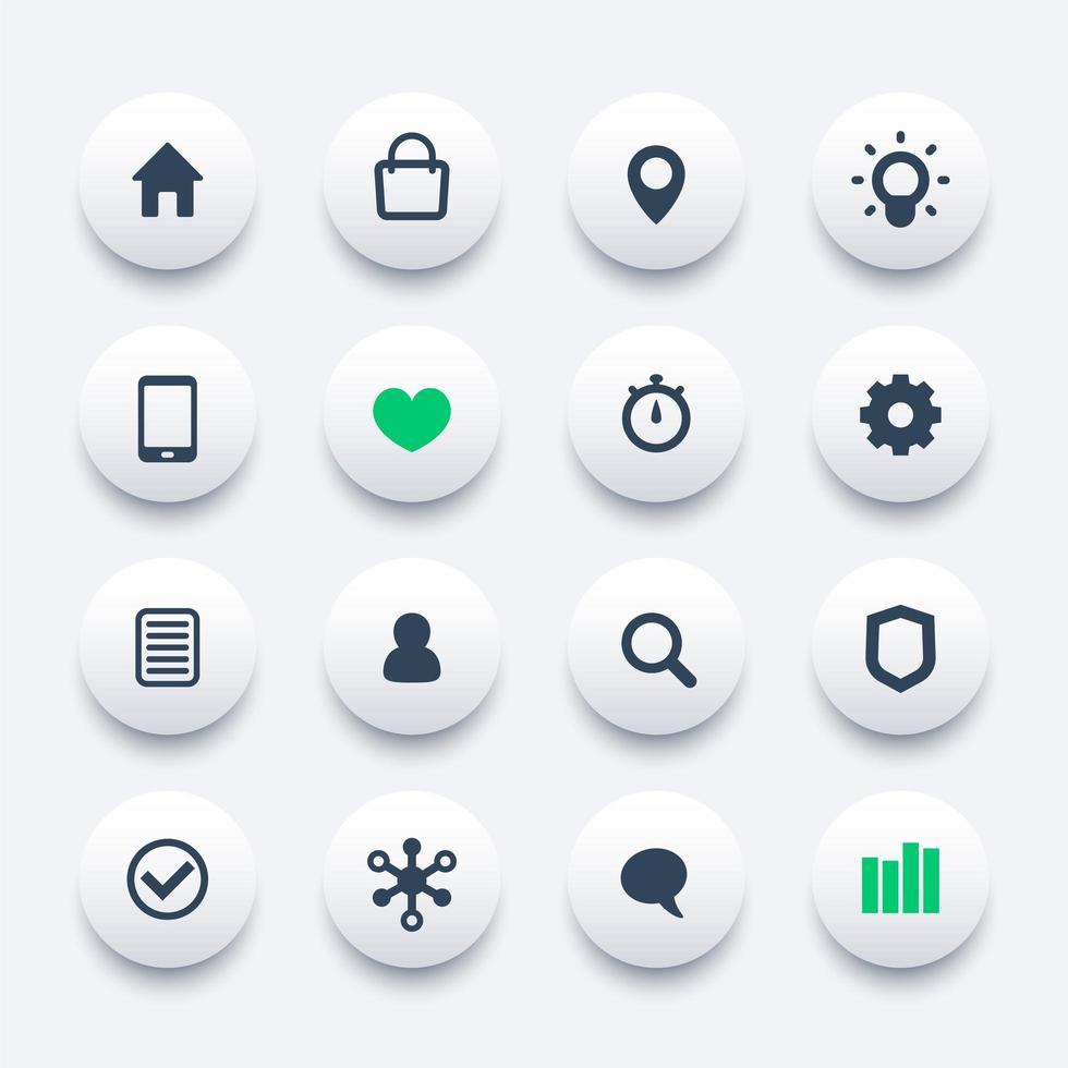 iconos web básicos establecidos para aplicaciones y sitios web vector