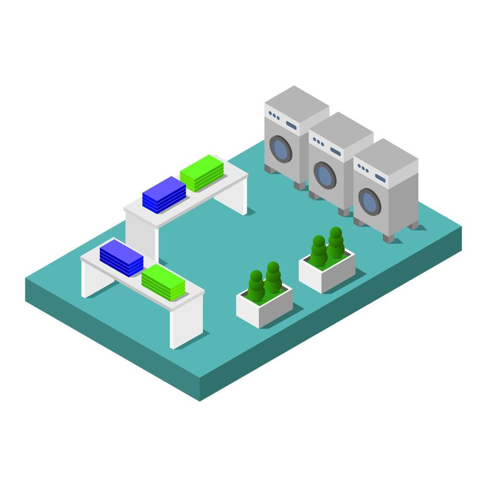 Isometric Laundry Shop or Laundry Room vector