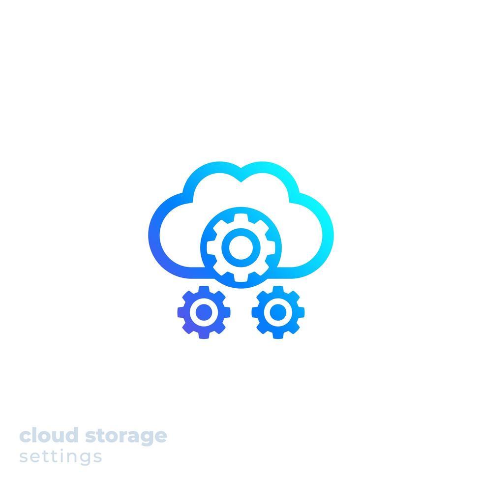 icono de configuración de almacenamiento en la nube para web, vector