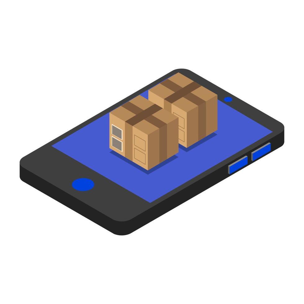 paquetes isométricos en smartphone vector