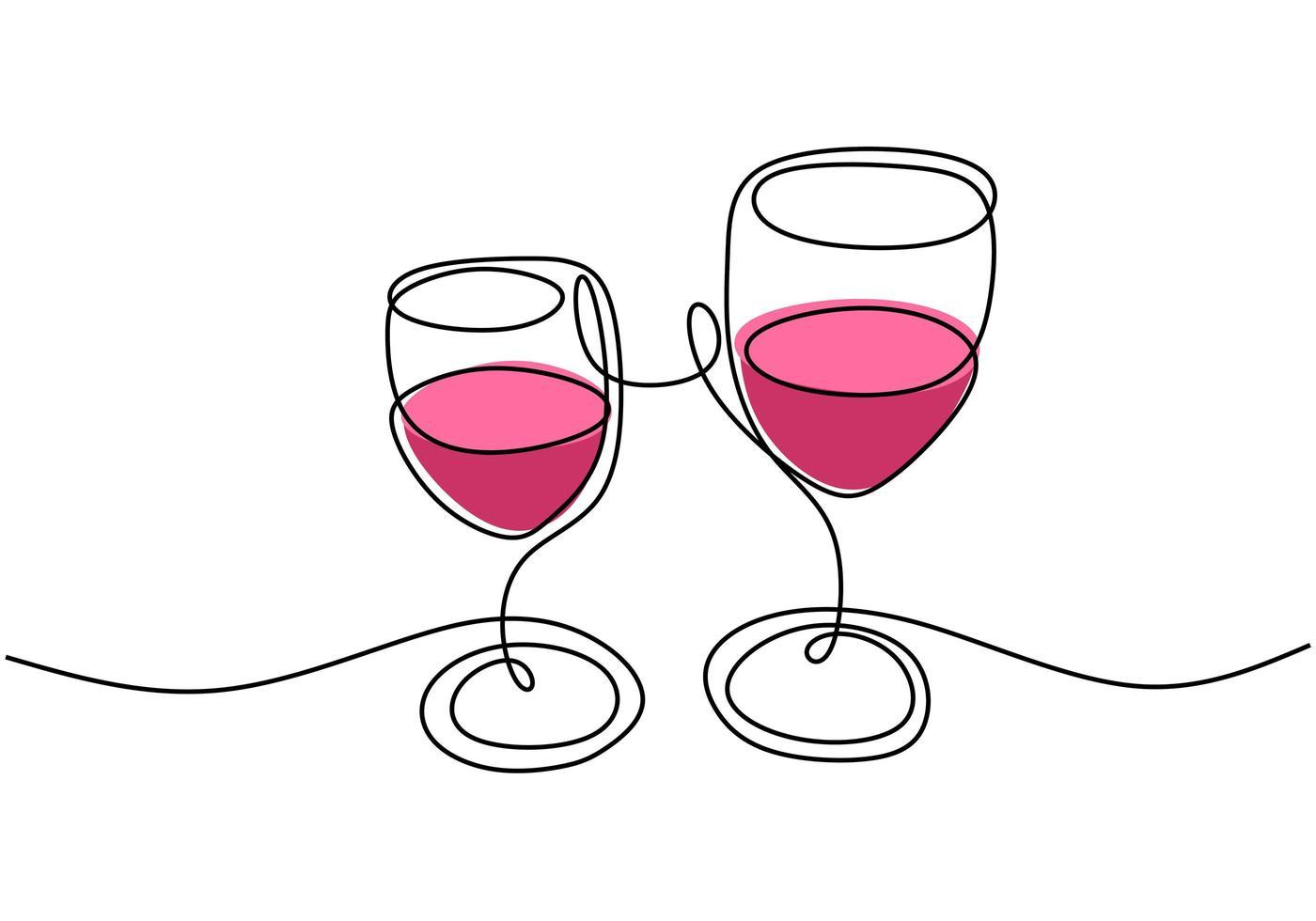 dibujo continuo de una línea, vector de vítores, dos copas de vino tinto, celebración de fiestas con alcohol. diseño minimalista con simplicidad dibujado a mano aislado sobre fondo blanco.