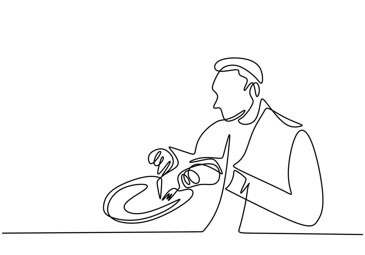 dibujo continuo de una línea, vector de hombre desayunando. diseño minimalista con simplicidad dibujado a mano aislado sobre fondo blanco.