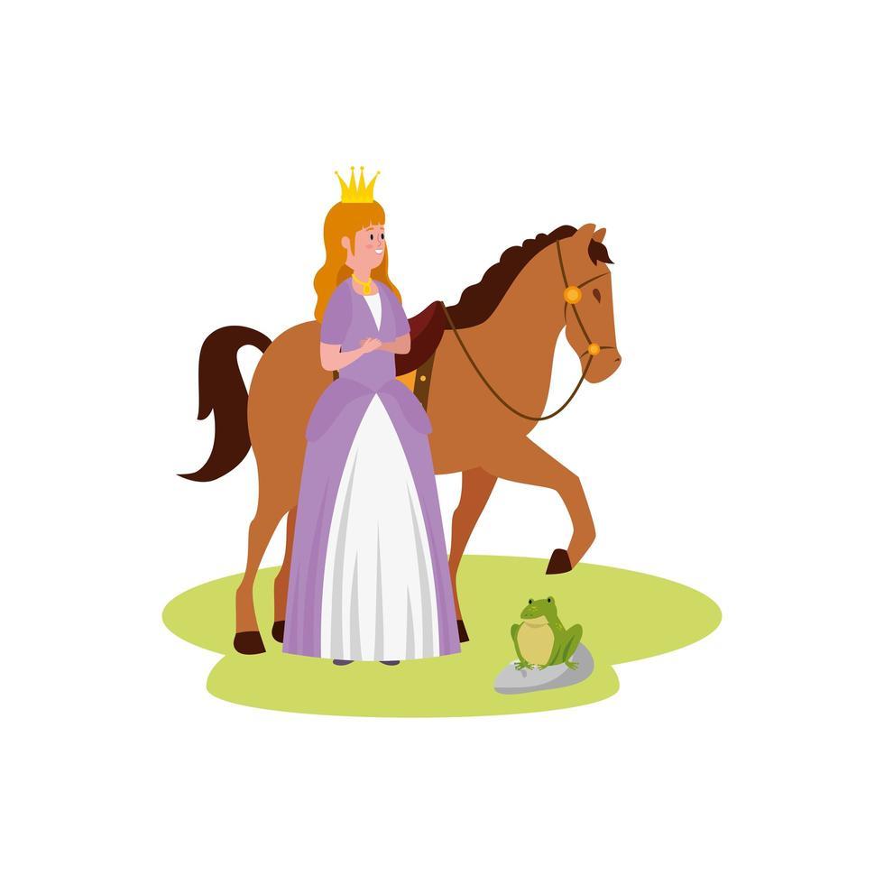 princesa de cuento de hadas con caballo y sapo vector
