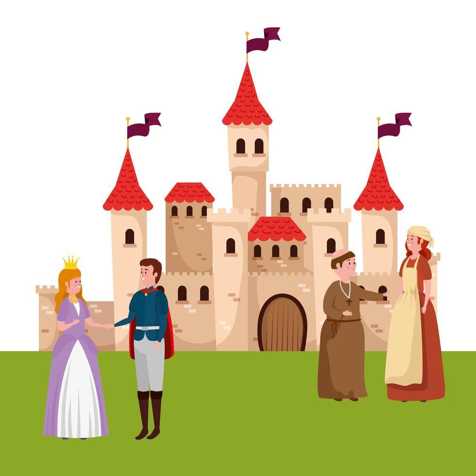 personajes de cuento de hadas con castillo vector