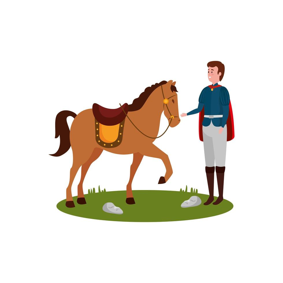 prince of fairytale with horse vector