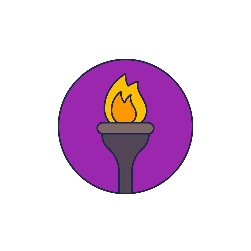 torch vector icon with outline