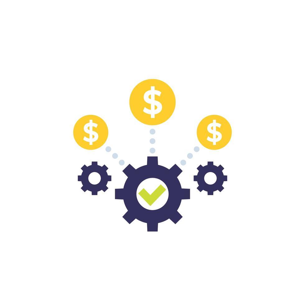 icono de optimización de costos y eficiencia empresarial vector