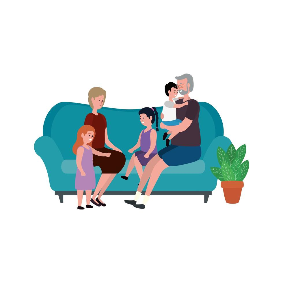 cute grandparents couple with little kids in the sofa vector