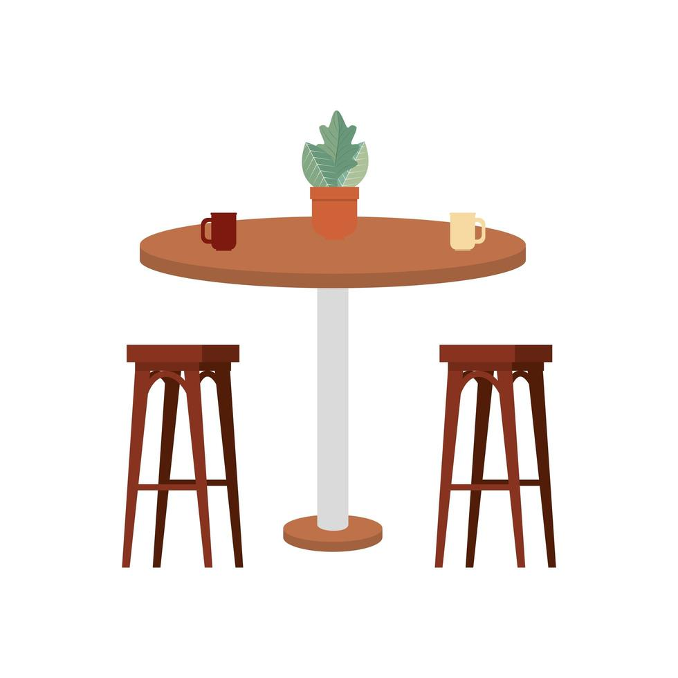 wooden benchs with table and houseplant vector