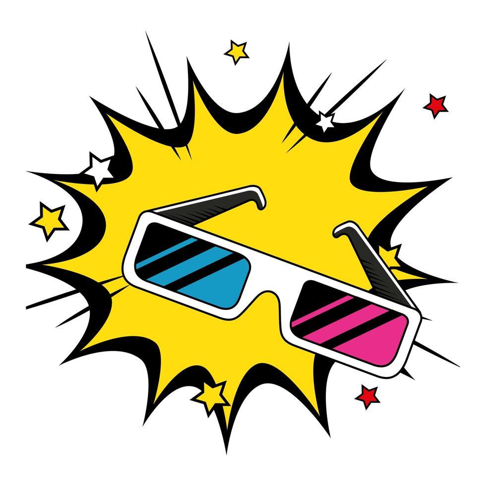 Accesorio de gafas de los noventa en explosión pop art vector