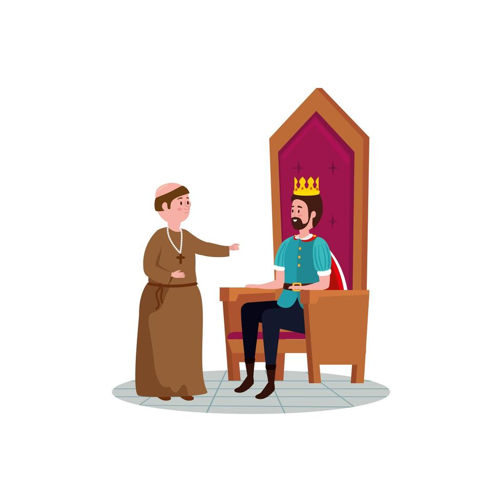 king of fairytale sitting in chair with monk vector