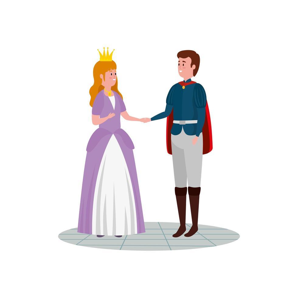 princess with prince fairytale avatar character vector