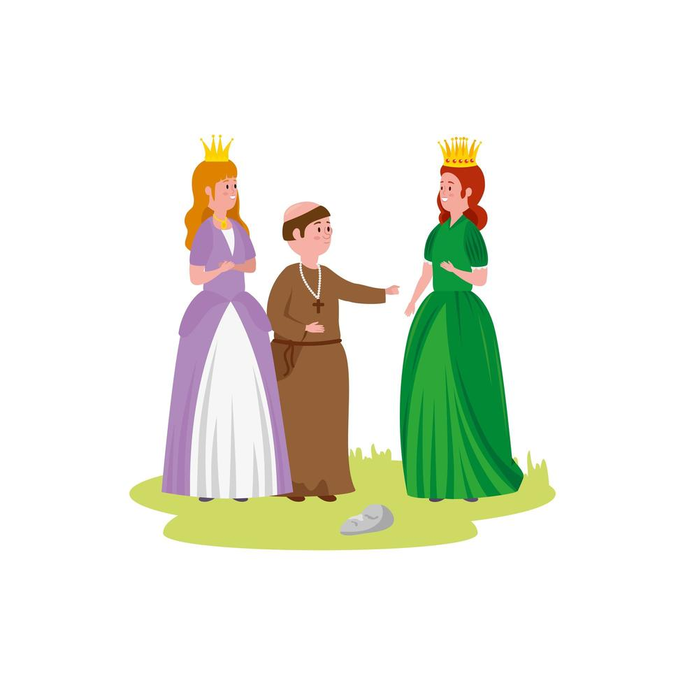 beautiful princesses fairytale with monk vector
