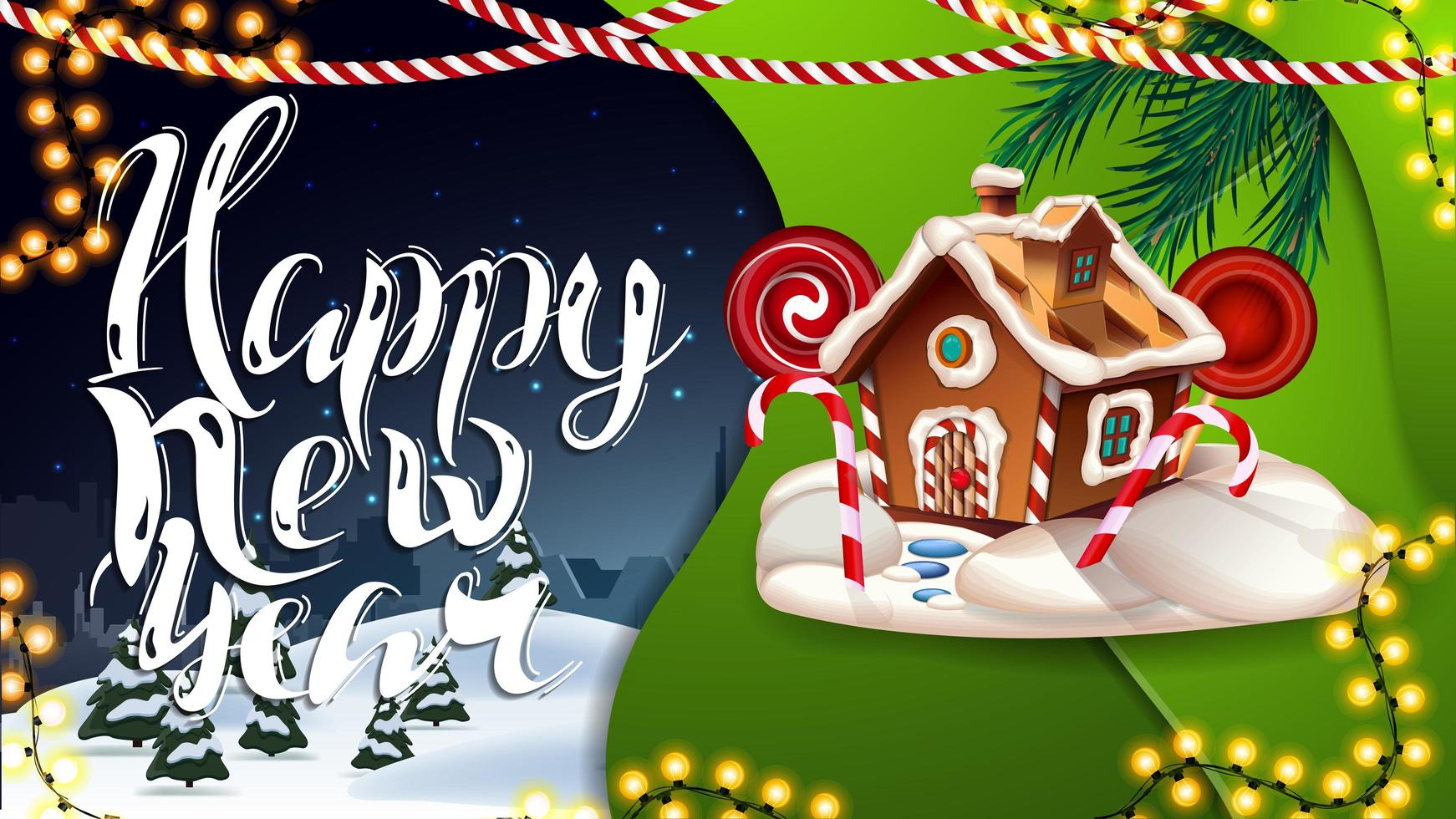 Happy New Year, blue and green postcard with garlands, winter landscape and Christmas gingerbread house vector