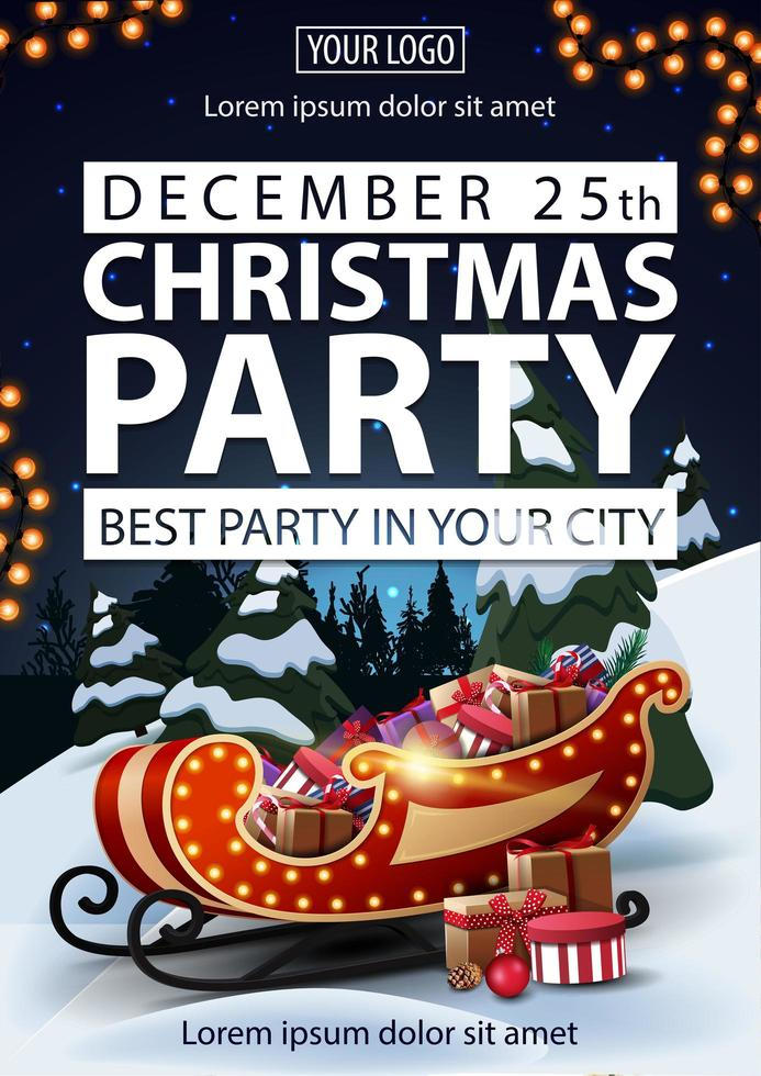 Christmas party, best party in your city, poster with white letters, winter landscape on background, Santa Sleigh with presents and garland vector