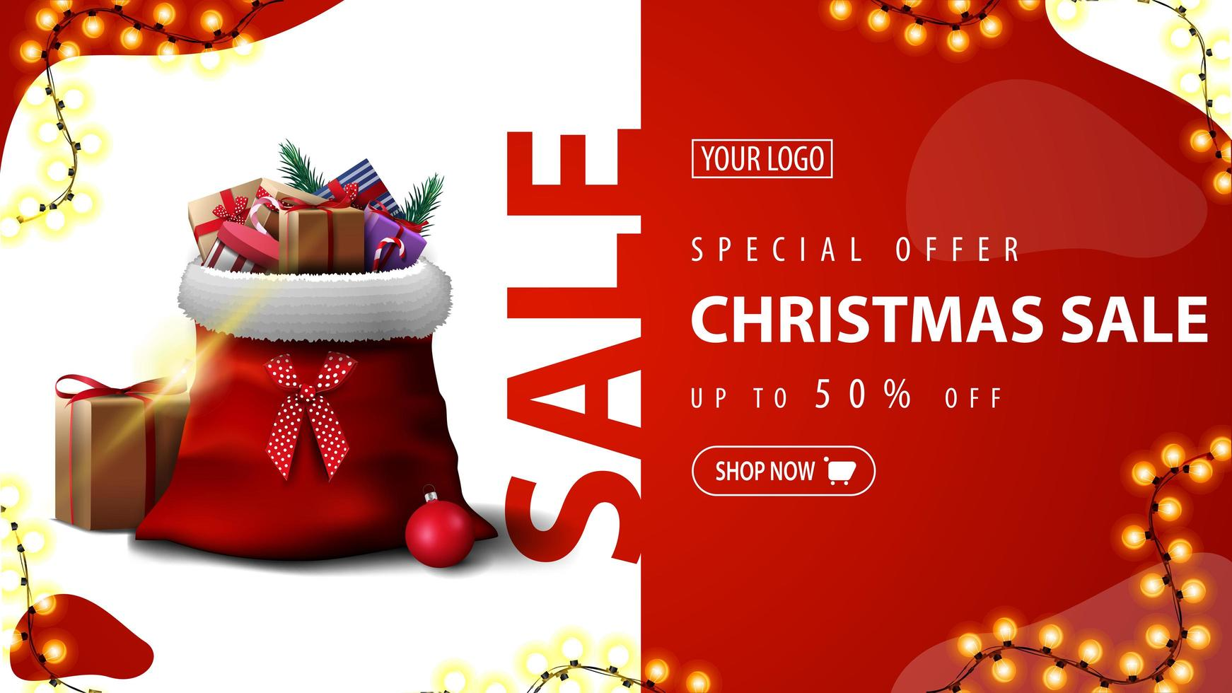 Special offer, Christmas sale, up to 50 off, green discount banner with garland and Santa Claus bag with presents vector