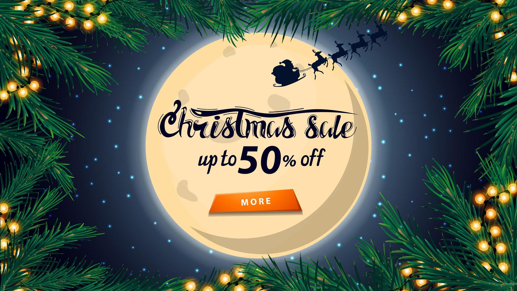 Christmas sale, up to 50 off, discount banner with big full moon on starry sky, silhouette Santa Claus, frame of Christmas tree and orange button vector