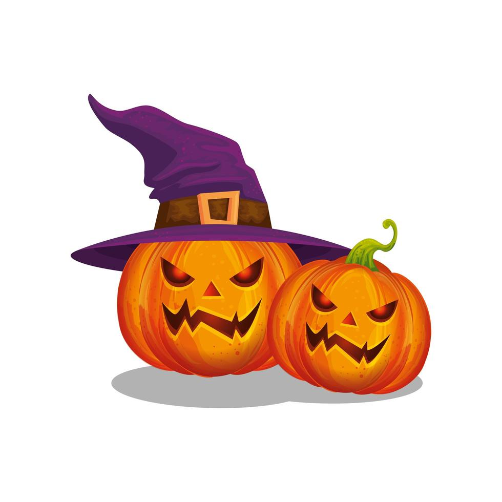 halloween pumpkins with witch hat vector