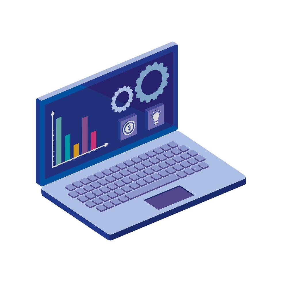 laptop computer with infographics and app menu vector